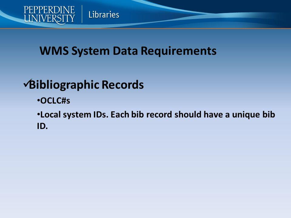 Bibliographic Records OCLC#s Local system IDs. Each bib record should have a unique bib ID.