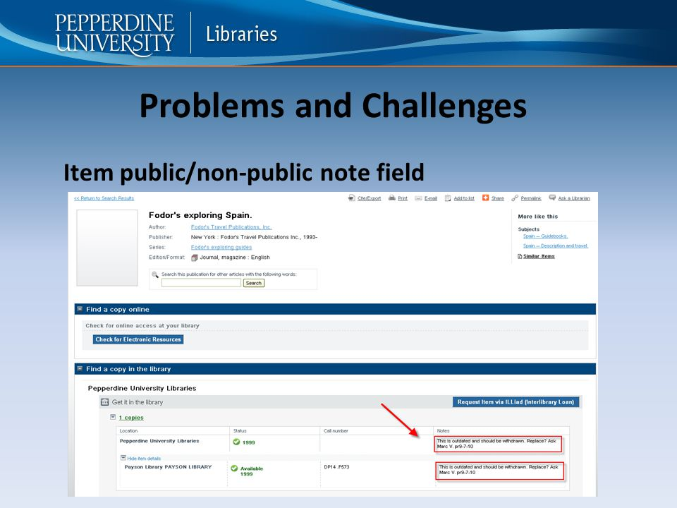 Problems and Challenges Item public/non-public note field