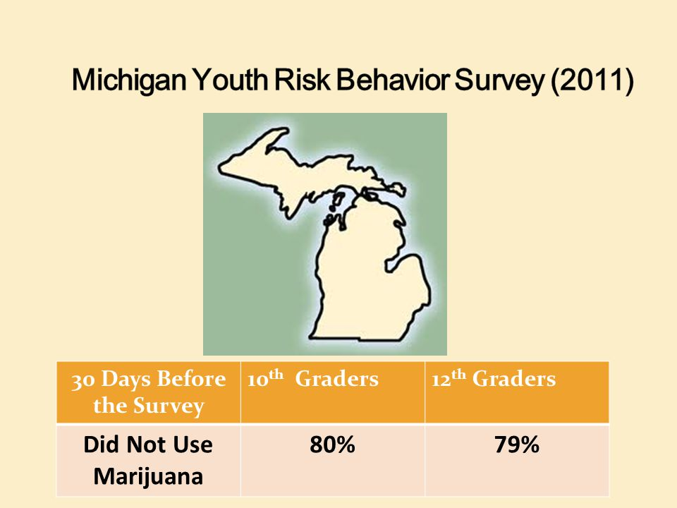30 Days Before the Survey 10 th Graders12 th Graders Did Not Use Marijuana 80%79%