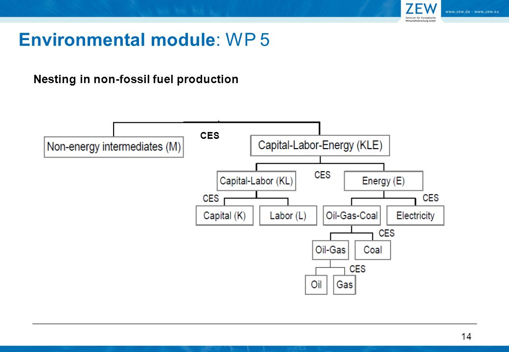 14 Nesting in non-fossil fuel production Environmental module: WP 5 CES