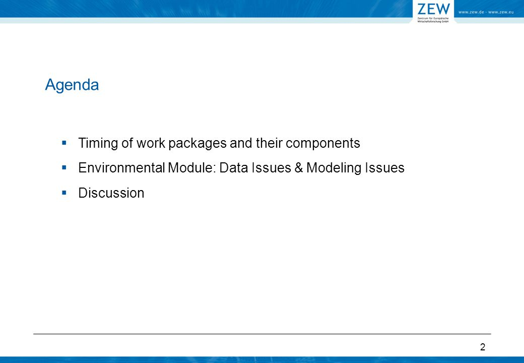 Environmental module: WP 5 6.