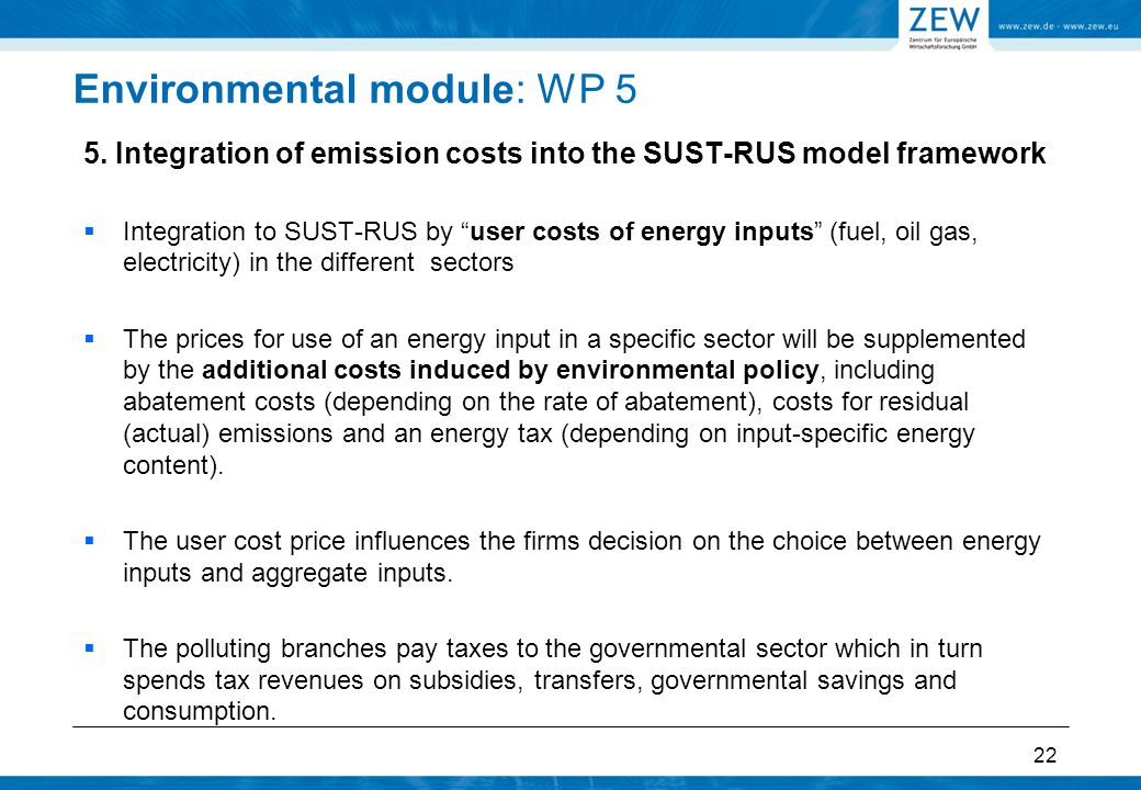 """Environmental module: WP 5 5. Integration of emission costs into the SUST-RUS model framework  Integration to SUST-RUS by """"user costs of energy input"""
