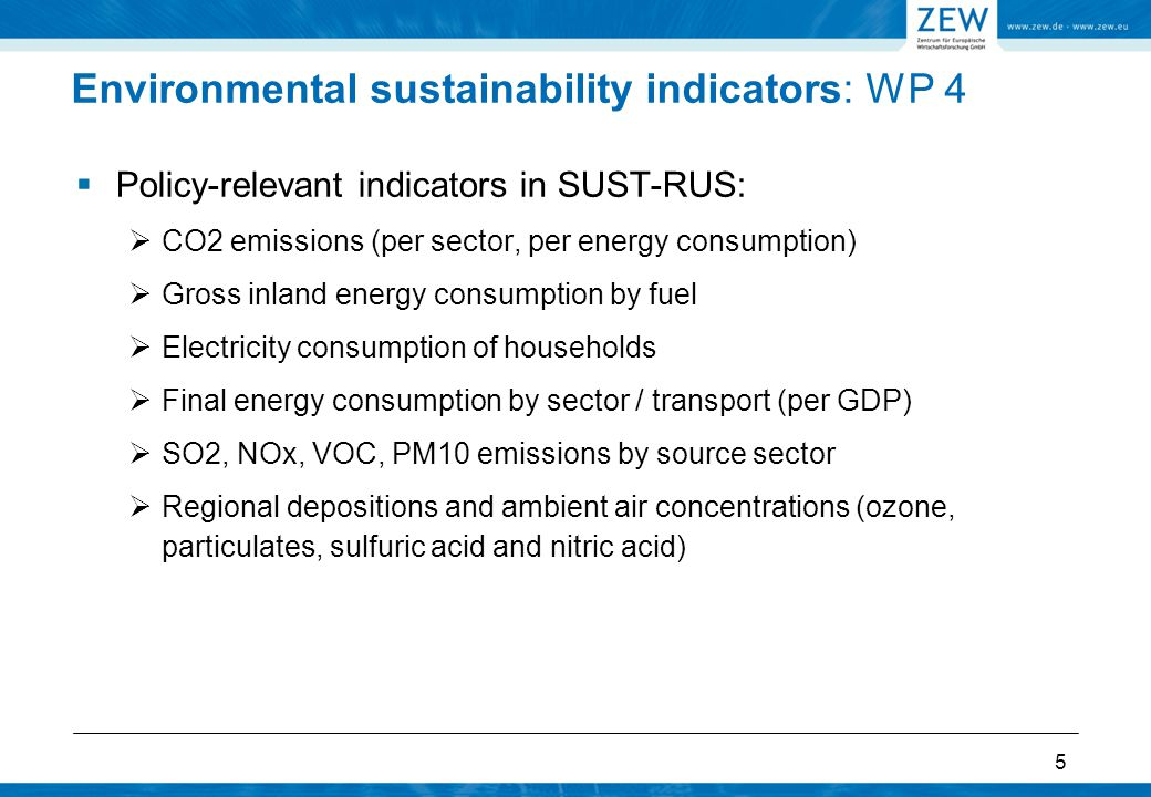 5 Environmental sustainability indicators: WP 4  Policy-relevant indicators in SUST-RUS:  CO2 emissions (per sector, per energy consumption)  Gross inland energy consumption by fuel  Electricity consumption of households  Final energy consumption by sector / transport (per GDP)  SO2, NOx, VOC, PM10 emissions by source sector  Regional depositions and ambient air concentrations (ozone, particulates, sulfuric acid and nitric acid)