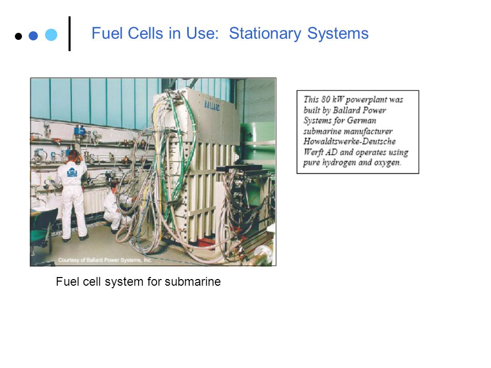Fuel Cells in Use: Transportation Systems XCELLSiS fuel cell bus prototypes Buses are most commercially advanced applications of fuel cells to date.