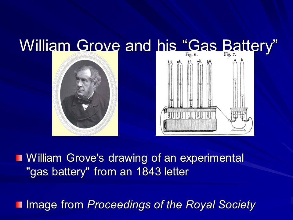 """William Grove and his """"Gas Battery"""" William Grove's drawing of an experimental"""
