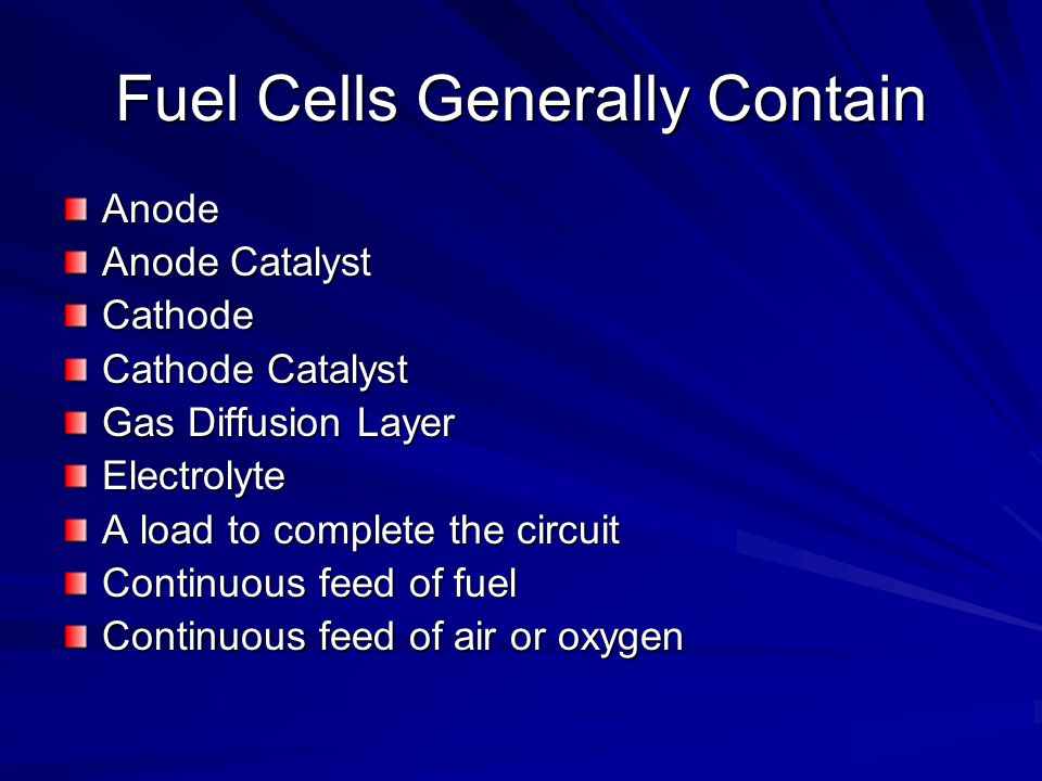 Fuel Cells Generally Contain Anode Anode Catalyst Cathode Cathode Catalyst Gas Diffusion Layer Electrolyte A load to complete the circuit Continuous f
