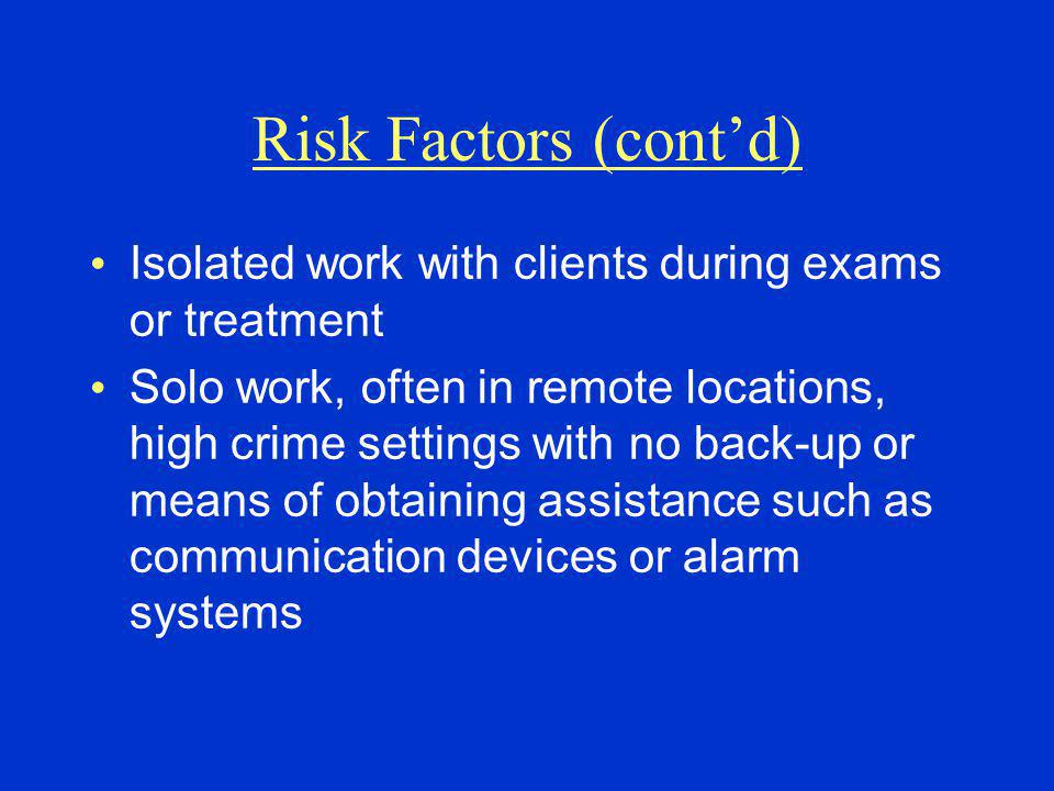 Risk Factors (cont'd) Isolated work with clients during exams or treatment Solo work, often in remote locations, high crime settings with no back-up or means of obtaining assistance such as communication devices or alarm systems