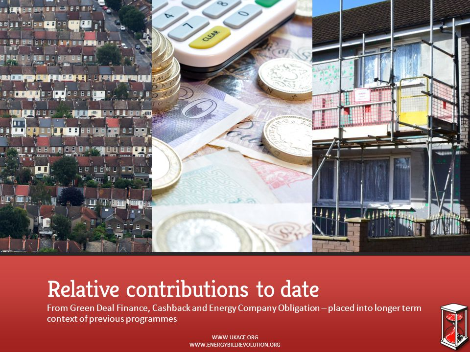 Relative contributions to date From Green Deal Finance, Cashback and Energy Company Obligation – placed into longer term context of previous programme