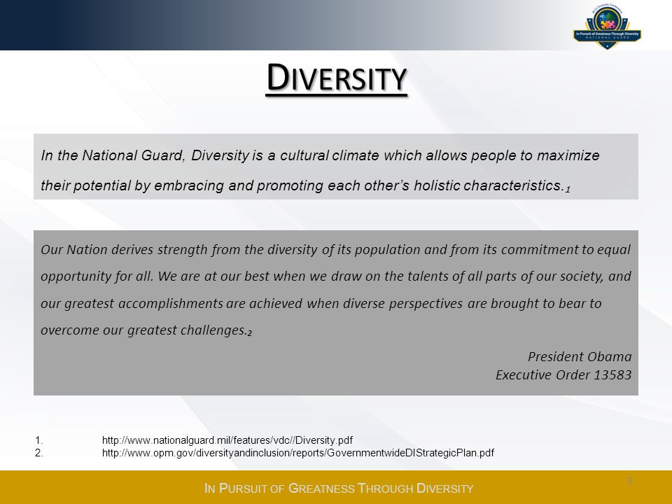D IVERSITY Our Nation derives strength from the diversity of its population and from its commitment to equal opportunity for all.