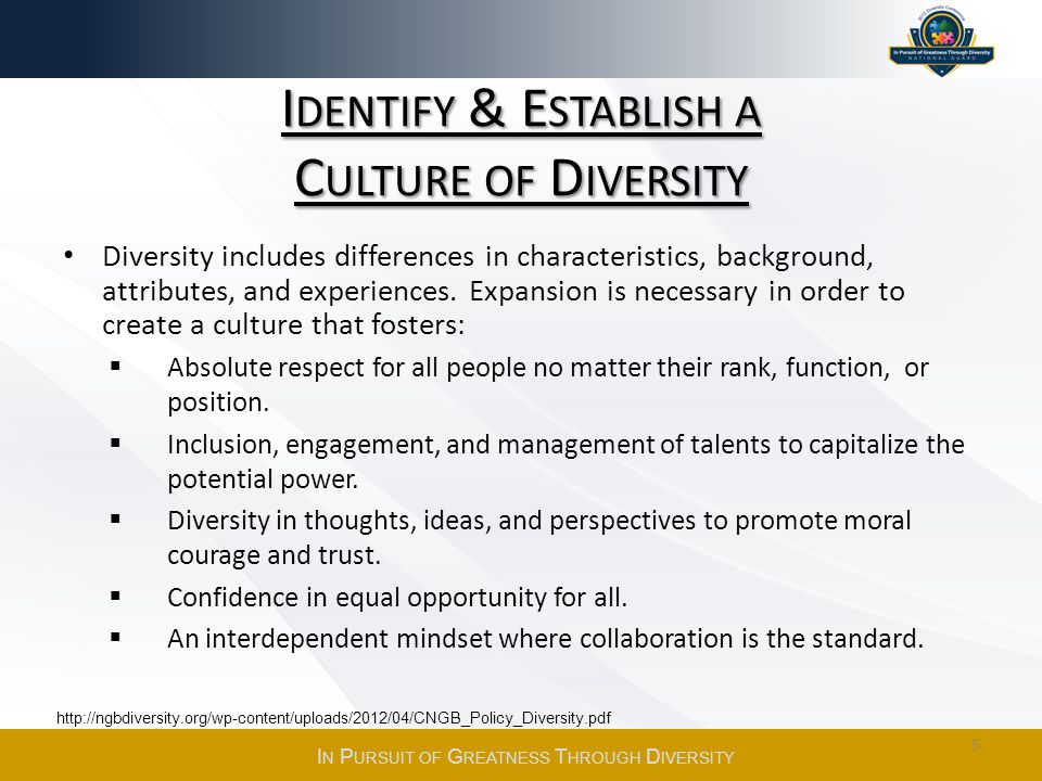 I DENTIFY & E STABLISH A C ULTURE OF D IVERSITY Diversity includes differences in characteristics, background, attributes, and experiences.