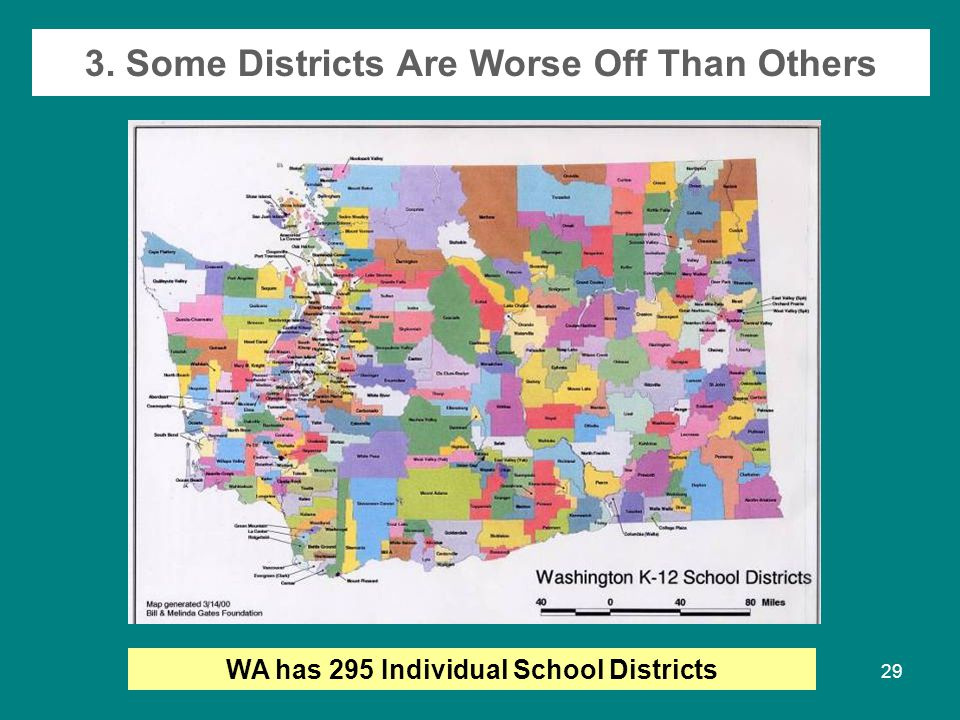 Fall 200729 3. Some Districts Are Worse Off Than Others WA has 295 Individual School Districts