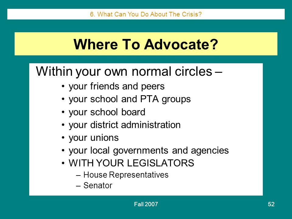 Fall 200752 Where To Advocate.