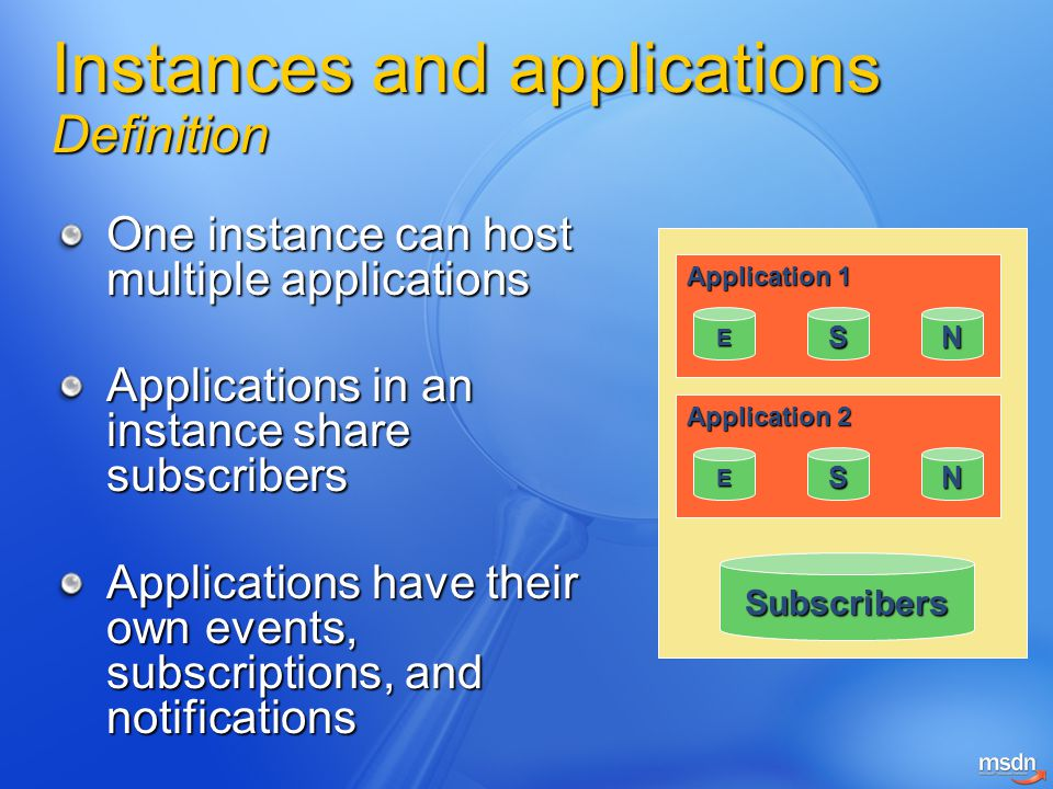 Instances and applications Definition One instance can host multiple applications Applications in an instance share subscribers Applications have their own events, subscriptions, and notifications Subscribers Application 1 ESN Application 2 ESN