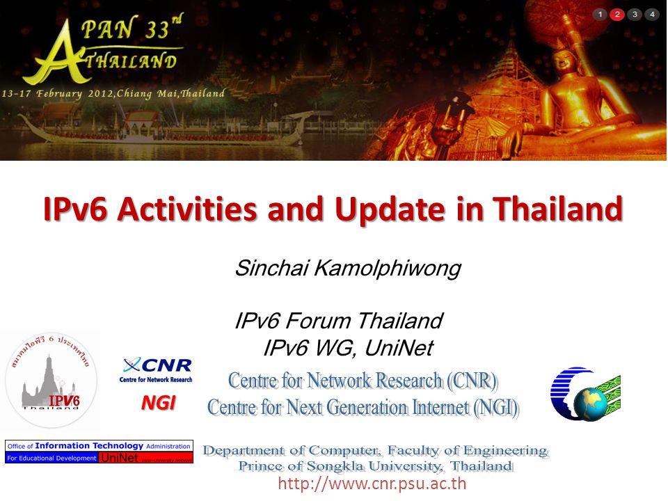 http://www.cnr.psu.ac.th IPv6 Activities and Update in Thailand Sinchai Kamolphiwong IPv6 Forum Thailand IPv6 WG, UniNet NGI