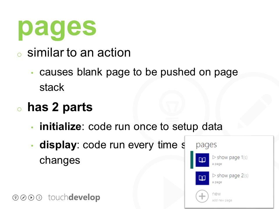 page definition page my page ( s:string, n:number ) initialize … initialize global variables … display … code with boxes …