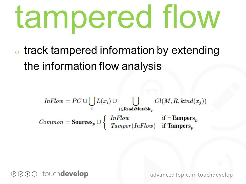 advanced topics in touchdevelop tampered flow o track tampered information by extending the information flow analysis