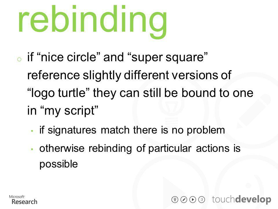 """rebinding o if """"nice circle"""" and """"super square"""" reference slightly different versions of """"logo turtle"""" they can still be bound to one in """"my script"""" i"""