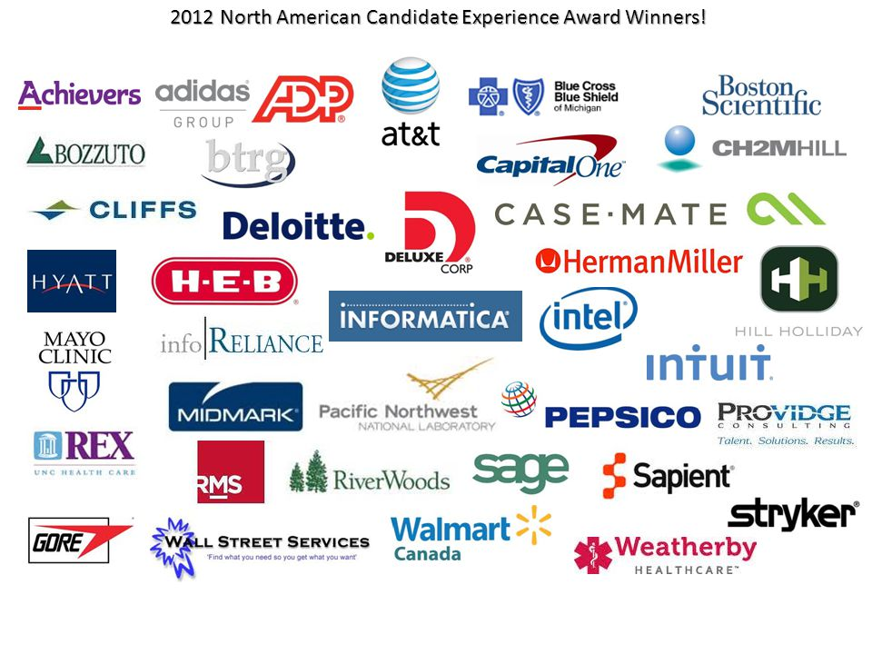 2012 North American Candidate Experience Award Winners.