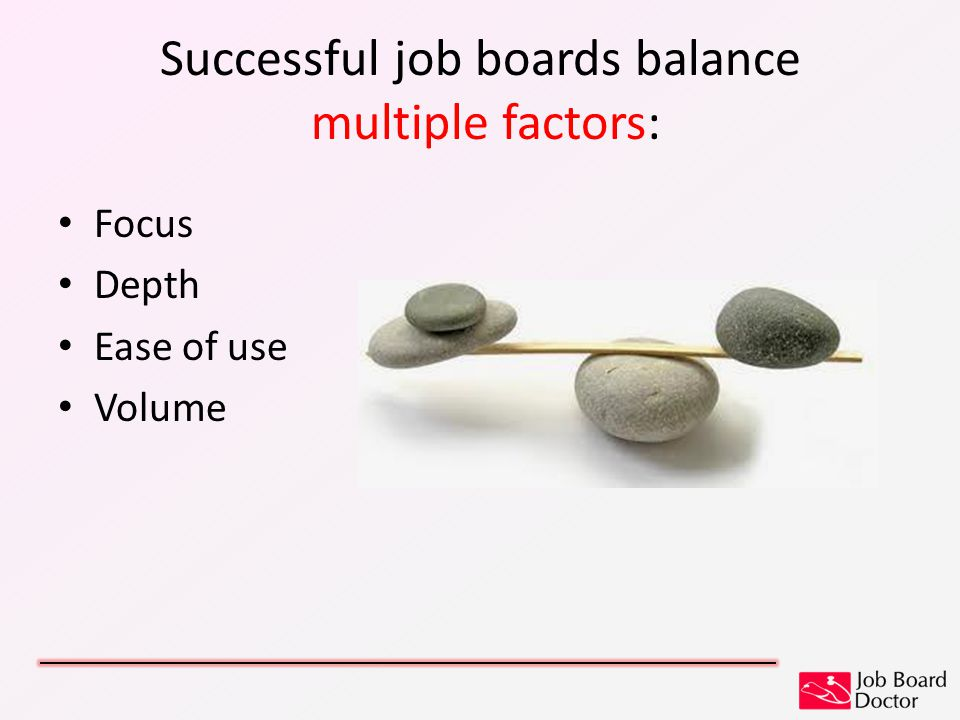Successful job boards balance multiple factors: Focus Depth Ease of use Volume