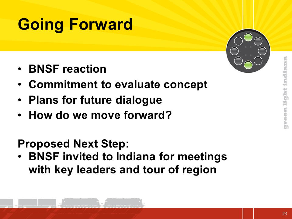 Going Forward BNSF reaction Commitment to evaluate concept Plans for future dialogue How do we move forward.