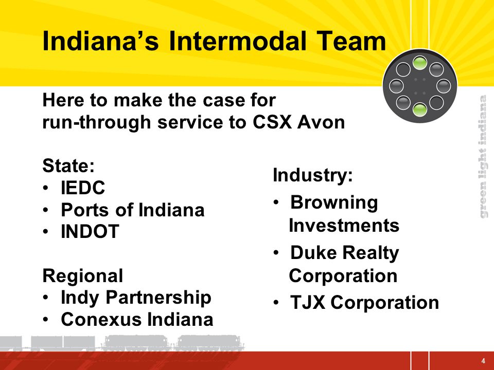 Indiana's Intermodal Team Here to make the case for run-through service to CSX Avon State: IEDC Ports of Indiana INDOT Regional Indy Partnership Conexus Indiana Industry: Browning Investments Duke Realty Corporation TJX Corporation 4