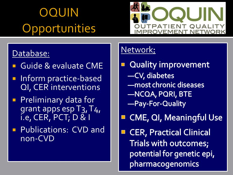 Database:  Guide & evaluate CME  Inform practice-based QI, CER interventions  Preliminary data for grant apps esp T3, T4, i.e, CER, PCT; D & I  Publications: CVD and non-CVD