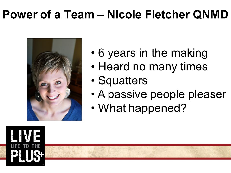 Power of a Team – Nicole Fletcher QNMD 6 years in the making Heard no many times Squatters A passive people pleaser What happened