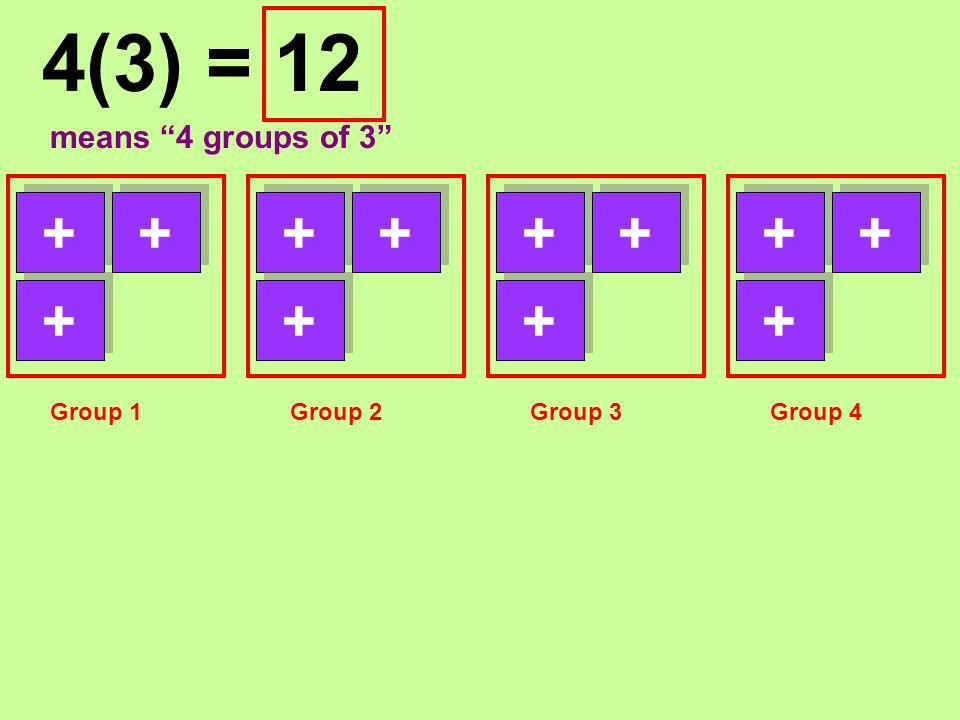 "124(3) = means ""4 groups of 3"" ++ + ++ + ++ + ++ + Group 1Group 2Group 3Group 4"