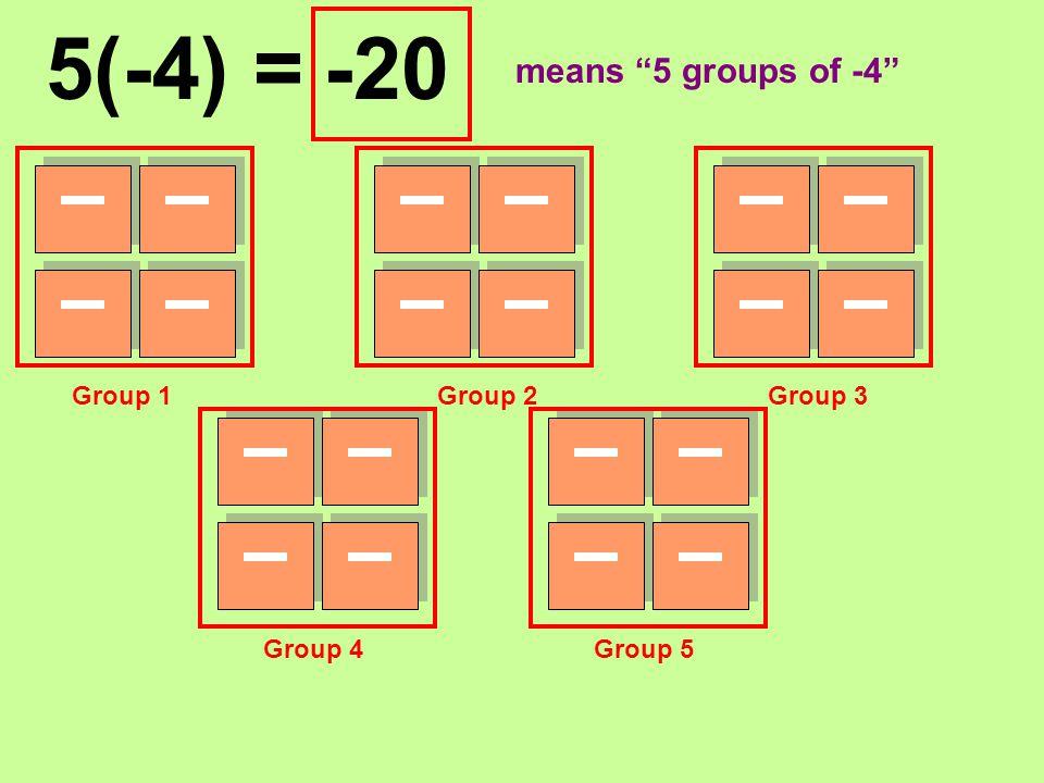 "5(-4) = Group 1Group 2Group 3 Group 4Group 5 -20 means ""5 groups of -4"""