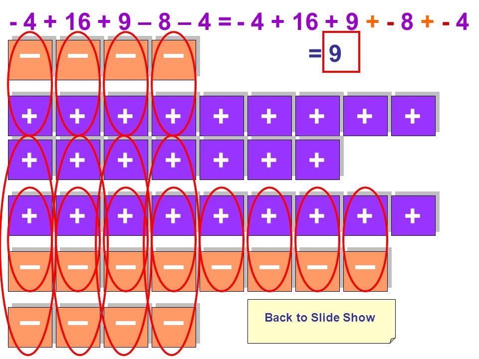 - 4 + 16 + 9 – 8 – 4 =- 4 + 16 + 9 + - 8 + - 4 +++++++++ +++++++ +++++++++ Back to Slide Show = 9