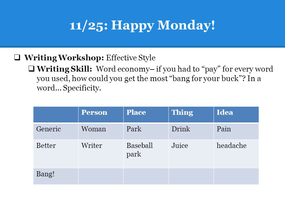 "11/25: Happy Monday!  Writing Workshop: Effective Style  Writing Skill: Word economy– if you had to ""pay"" for every word you used, how could you get"