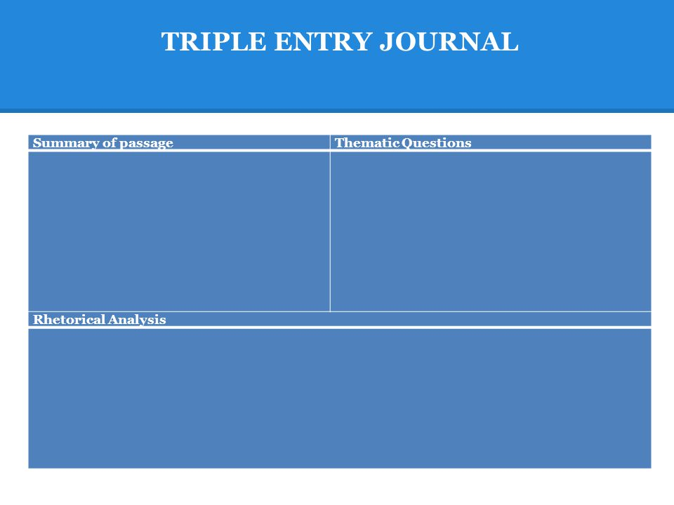 TRIPLE ENTRY JOURNAL Summary of passageThematic Questions Rhetorical Analysis