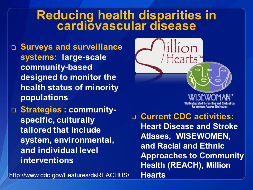 Reducing health disparities in cardiovascular disease  Surveys and surveillance systems: large-scale community-based designed to monitor the health status of minority populations  Strategies : community- specific, culturally tailored that include system, environmental, and individual level interventions http://www.cdc.gov/Features/dsREACHUS/  Current CDC activities: Heart Disease and Stroke Atlases, WISEWOMEN, and Racial and Ethnic Approaches to Community Health (REACH), Million Hearts
