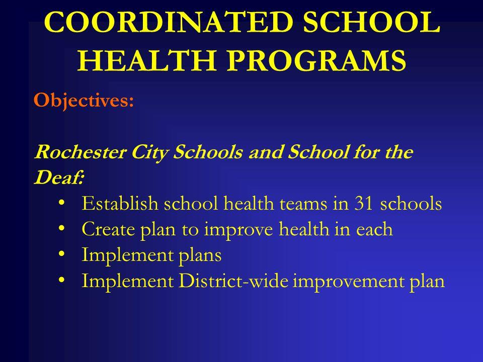 COORDINATED SCHOOL HEALTH PROGRAMS Objectives: Rochester City Schools and School for the Deaf: Establish school health teams in 31 schools Create plan