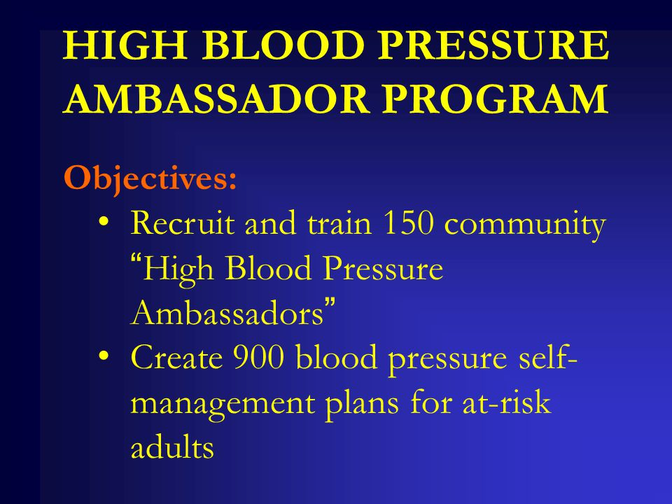HIGH BLOOD PRESSURE AMBASSADOR PROGRAM Objectives: Recruit and train 150 community High Blood Pressure Ambassadors Create 900 blood pressure self- management plans for at-risk adults