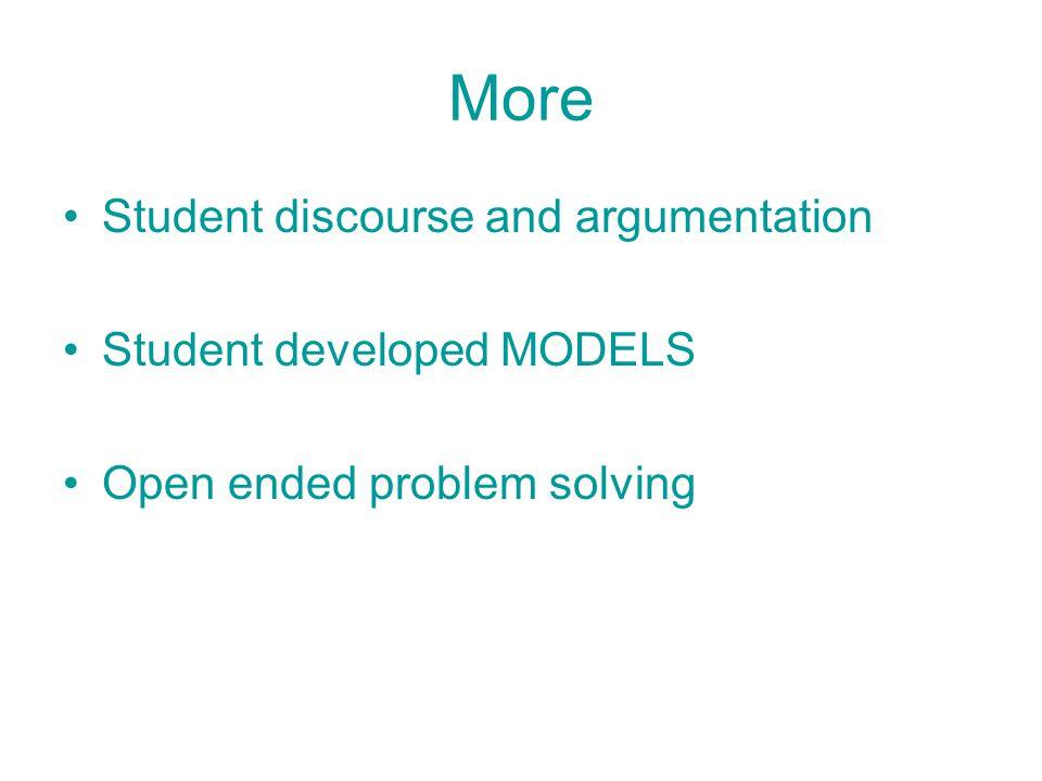 More Student discourse and argumentation Student developed MODELS Open ended problem solving