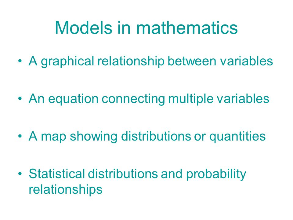 Models in mathematics A graphical relationship between variables An equation connecting multiple variables A map showing distributions or quantities S