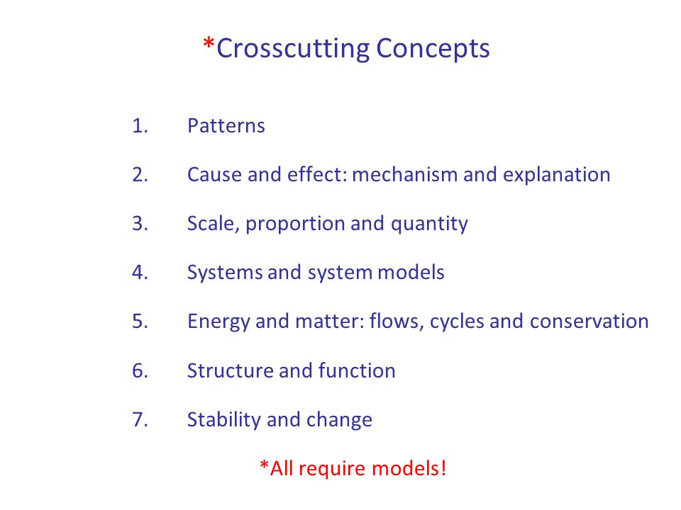 *Crosscutting Concepts 1.Patterns 2.Cause and effect: mechanism and explanation 3.Scale, proportion and quantity 4.Systems and system models 5.Energy