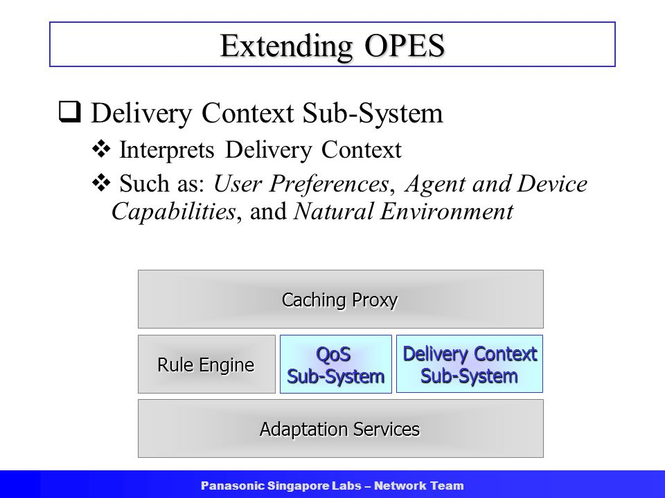 Panasonic Singapore Labs – Network Team Extending OPES  Delivery Context Sub-System  Interprets Delivery Context  Such as: User Preferences, Agent and Device Capabilities, and Natural Environment Caching Proxy Rule Engine QoSSub-System Adaptation Services Delivery Context Sub-System
