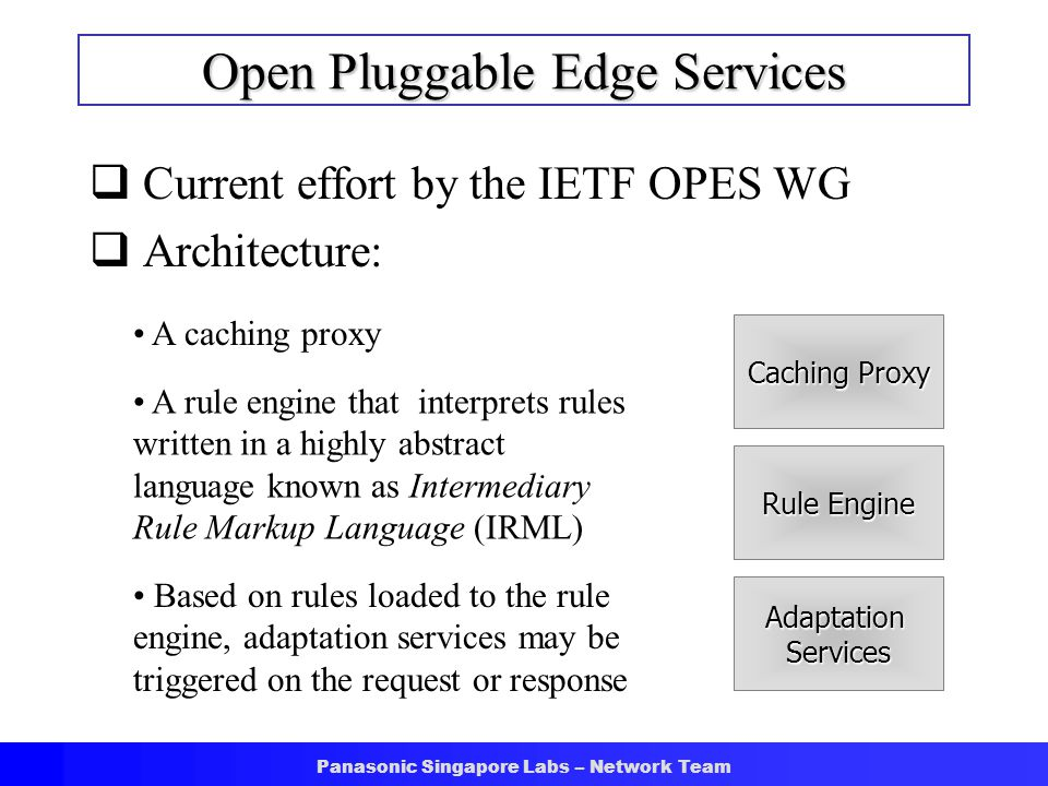 Panasonic Singapore Labs – Network Team Open Pluggable Edge Services  Current effort by the IETF OPES WG  Architecture: Caching Proxy A caching prox