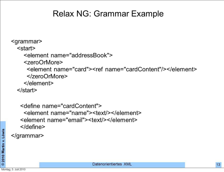 Relax NG: Grammar Example Datenorientiertes XML 13 Montag, 5. Juli 2010