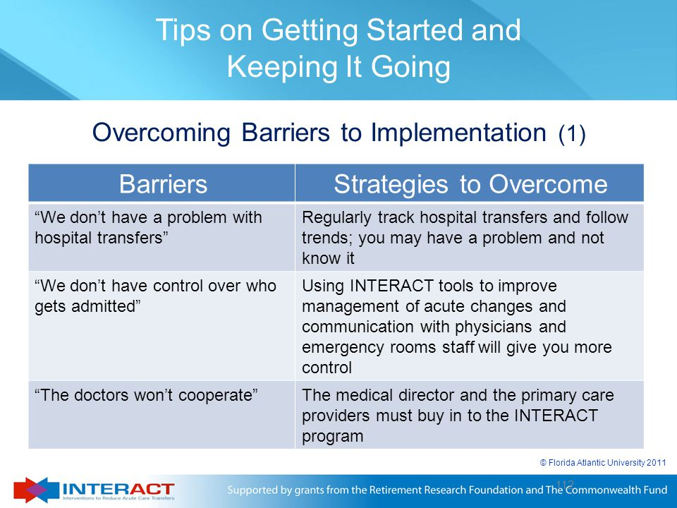 """© Florida Atlantic University 2011 112 Overcoming Barriers to Implementation (1) BarriersStrategies to Overcome """"We don't have a problem with hospital"""