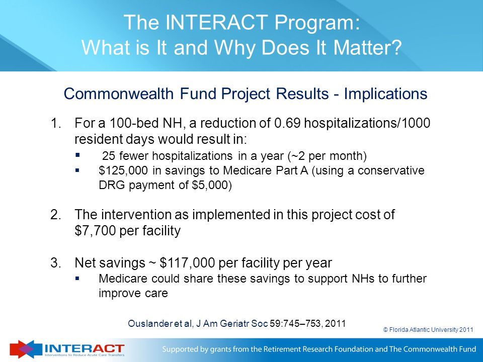 © Florida Atlantic University 2011 Commonwealth Fund Project Results - Implications 1.For a 100-bed NH, a reduction of 0.69 hospitalizations/1000 resi