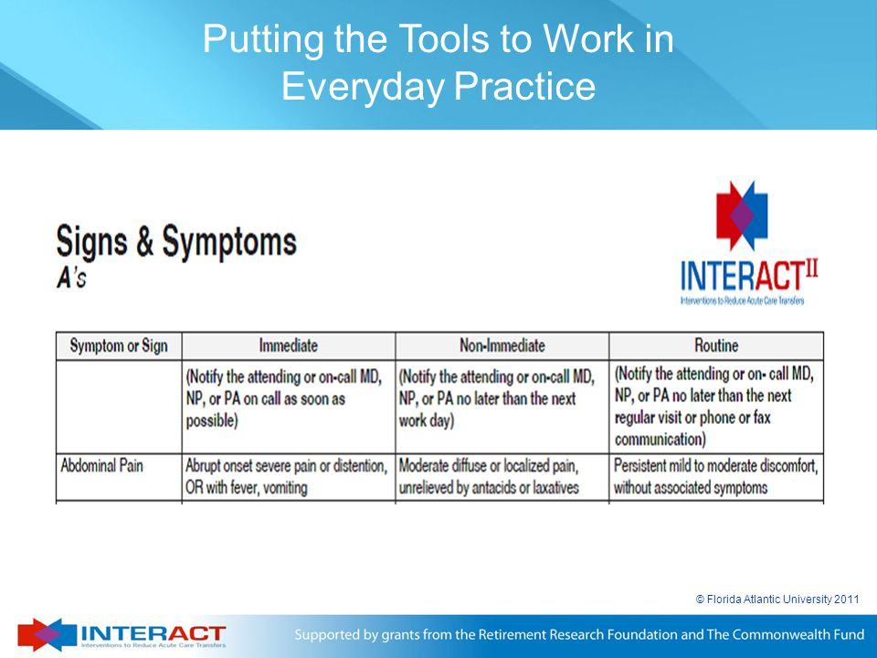 © Florida Atlantic University 2011 Putting the Tools to Work in Everyday Practice