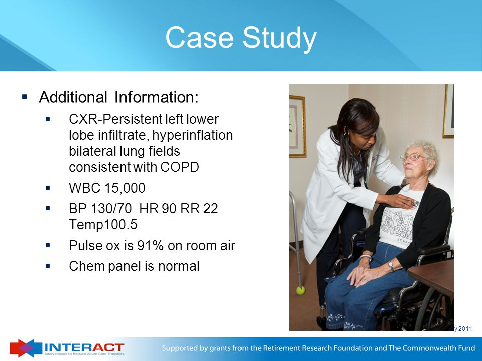 © Florida Atlantic University 2011  Additional Information:  CXR-Persistent left lower lobe infiltrate, hyperinflation bilateral lung fields consist
