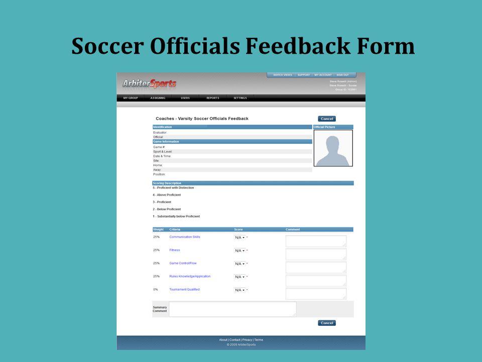 Soccer Officials Feedback Form