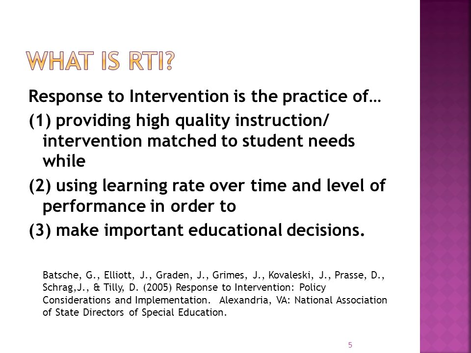  Leadership teams  Representative, collaborative and influential  Data based decision making  Universal screening  Monitor student progress  Systematic tiered model of instruction  Continuum of supports based on student needs  Provide evidence-based instruction and interventions all along the continuum of supports  Differentiated instruction 6