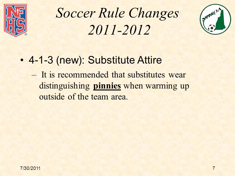 7/30/201128 Points of Emphasis Handling :Handling –Inadvertent Handling, No Intent; no foul –Hand or arm in natural position; no foul even if player gains possession of the ball –Hand or arm not in a natural position; foul Regardless of where it happened on the field Be consistent (midfield vs.