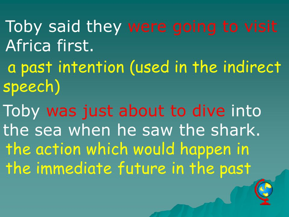 Toby said they were going to visit Africa first. a past intention (used in the indirect speech) Toby was just about to dive into the sea when he saw t