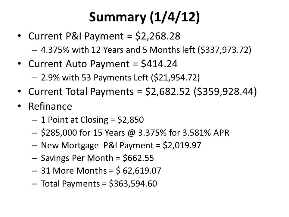 Summary (1/4/12) Current P&I Payment = $2,268.28 – 4.375% with 12 Years and 5 Months left ($337,973.72) Current Auto Payment = $414.24 – 2.9% with 53 Payments Left ($21,954.72) Current Total Payments = $2,682.52 ($359,928.44) Refinance – 1 Point at Closing = $2,850 – $285,000 for 15 Years @ 3.375% for 3.581% APR – New Mortgage P&I Payment = $2,019.97 – Savings Per Month = $662.55 – 31 More Months = $ 62,619.07 – Total Payments = $363,594.60
